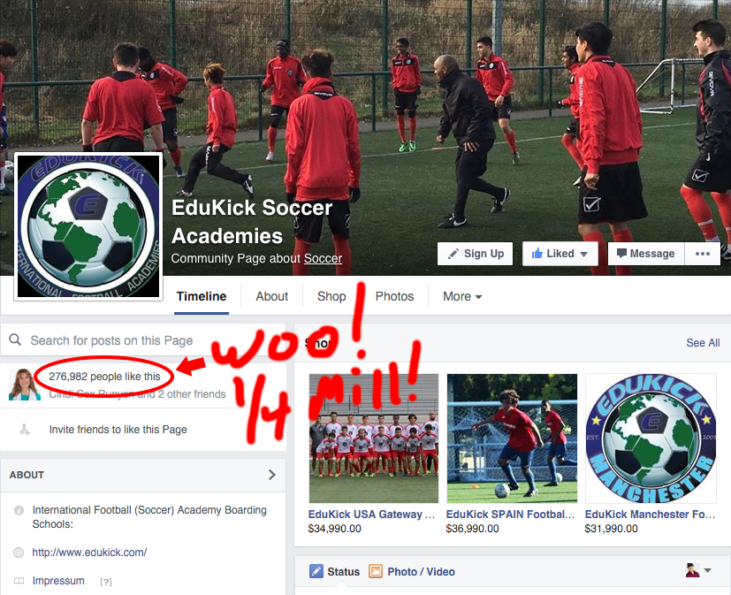 EduKick Soccer Academy Breaks 250,000 Facebook Likes