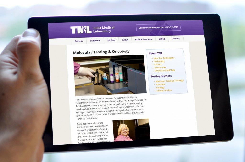 Tulsa Medical Labs Tablet Website Design